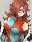 1girl android_21 blue_eyes breasts checkered checkered_dress closed_mouth detached_sleeves dragon_ball dragon_ball_fighterz dress earrings glasses grey_background hoop_earrings jewelry kemachiku labcoat long_hair looking_at_viewer medium_breasts redhead simple_background solo