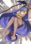 1girl animal_ears bangs bare_shoulders barefoot bracer breasts commentary dark_skin earrings egyptian egyptian_clothes facepaint facial_mark fate/grand_order fate_(series) feet hareno_chiame hoop_earrings jackal_ears jewelry legs long_hair looking_at_viewer low-tied_long_hair medium_breasts navel nitocris_(fate/grand_order) purple_hair sidelocks solo staff usekh_collar very_long_hair violet_eyes