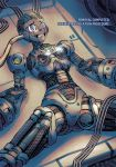 1girl alia_(rockman) android barcode blue_eyes cable dgrp_(minhduc12333) disassembly empty_eyes english_text eyebrows_visible_through_hair highres lying on_back parted_lips parts_exposed piston radio_antenna robot_joints rockman rockman_x solo spread_legs teeth tube