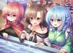 3girls :d :t anger_vein animal_ear_fluff animal_ears bangs bare_shoulders black_shirt blue_bow blue_eyes blue_hair blush bow breasts brooch brown_eyes brown_hair cape collarbone dress drill_hair eyebrows_visible_through_hair fang fingernails fish goldfish goldfish_scooping grass_root_youkai_network green_kimono hair_between_eyes hair_bow head_fins high_collar highres imaizumi_kagerou japanese_clothes jewelry kimono long_hair long_sleeves medium_breasts multiple_girls nail_polish obi off-shoulder_dress off_shoulder open_mouth pudding_(skymint_028) purple_sash red_cape red_eyes red_nails redhead sash sekibanki shaded_face sharp_fingernails shirt short_hair skin_fang smile touhou upper_body wakasagihime water white_dress wolf_ears