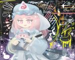 1girl :d bangs blue_headwear blue_kimono bright_pupils doll eyebrows_visible_through_hair fumo_(doll) ghost hat heart holding holding_doll japanese_clothes kimono long_sleeves medium_hair mob_cap open_mouth pink_eyes pink_hair saigyouji_yuyuko smile solo thatpebble touhou triangular_headpiece upper_body veil white_pupils wide_sleeves