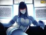 1girl bangs blunt_bangs blurry blurry_background bodysuit breasts closed_mouth contrapposto couch depth_of_field gloves glowing glowing_eyes head_tilt hime_cut horns j_adsen junketsu kill_la_kill kiryuuin_satsuki large_breasts limited_palette long_hair looking_at_viewer red_eyes ringed_eyes sitting smile solo static