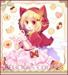 1girl :d animal_ears animal_hood bangs blonde_hair blush bow capelet cat_ears cat_hood checkerboard_cookie commentary_request cookie dress eat_me english_text eyebrows_visible_through_hair fake_animal_ears fang feathered_wings food hair_between_eyes hair_bow heart holding holding_food hood hood_up hooded_capelet layered_dress looking_at_viewer open_mouth original pink_dress pleated_dress puffy_short_sleeves puffy_sleeves red_bow red_capelet red_eyes shikito short_sleeves smile solo white_wings wings wrist_cuffs