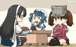 3girls :3 black_hair black_legwear blue_hair blue_neckwear blue_ribbon blue_sailor_collar board_game breasts brown_eyes brown_hair brown_legwear brown_skirt commentary_request cookie dated eating food fukae_(kantai_collection) full_body gloves gradient_hair hairband hamu_koutarou hat highres indian_style indoors japanese_clothes kantai_collection kariginu kneehighs long_hair magatama multicolored_hair multiple_girls neckerchief ooyodo_(kantai_collection) playing_games red_skirt ribbon ryuujou_(kantai_collection) sailor_collar sailor_hat school_uniform semi-rimless_eyewear serafuku short_hair short_sleeves shougi side_ponytail sidelocks single_arm_warmer sitting skirt small_breasts table thigh-highs twintails under-rim_eyewear upper_body visor_cap white_gloves white_hairband white_headwear