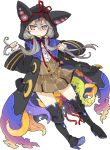 1girl boots brave_sword_x_blaze_soul coat copyright_name full_body grey_eyes hair_grab hair_over_shoulder hair_tubes high_heels hood hood_up living_clothes long_hair long_sleeves low_twintails mota necronomicon_(brave_sword_x_blaze_soul) official_art parted_lips silver_hair simple_background tentacles thigh-highs thigh_boots torn_clothes twintails white_background wide_sleeves wince