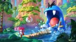 1boy artist_name baby baby_mario blargg brown_footwear bubble commentary copyright_name crying day diaper egg english_commentary fangs floating frog frog_pirate holding_egg lake mario_(series) moss outdoors palm_tree pier red_headwear red_skin single_tooth splashing standing standing_on_one_leg super_mario_world_2:_yoshi's_island sylvain_sarrailh tree water waterfall watermark web_address yoshi