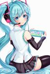 1girl absurdres aqua_eyes aqua_hair bangs bare_shoulders black_skirt blue_eyes blue_hair blush commentary detached_sleeves doubutsu_no_mori hair_ornament hatsune_miku hatsune_miku_(vocaloid4) headphones headset highres huge_filesize long_hair looking_at_viewer nintendo_switch pleated_skirt simple_background skirt smile solo thigh-highs twintails v4x very_long_hair vocaloid white_background zipgaemi