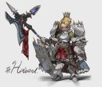 1girl absurdres armor bangs blonde_hair boots breastplate crown dot_nose english_text faulds full_armor full_body gauntlets greaves grey_background halberd hashtag highres holding holding_weapon looking_at_viewer nogchasaeg_(karon2848) original parted_bangs pauldrons plume polearm shield short_hair simple_background sketch smile solo standing violet_eyes weapon white_background