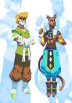 2boys abs adapted_costume animal_ears ankle_boots baggy_pants beerus beerus_(cosplay) belt boots brown_fur brown_hair collar commentary commission cosplay crossed_arms crossover cup disposable_cup dog_boy dog_collar dog_ears dog_tail dragon_ball dragon_ball_super drinking_straw ear_clip english_commentary facial_hair food food_on_face furry gloves highres holding holding_food male_focus multiple_boys muscle pants personification pointy_shoes scooby-doo scooby-doo_(character) shaggy_rogers shirtless shoes snout stubble tail tovio_rogers vambraces white_belt white_gloves zoom_layer