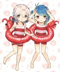 2girls alternate_costume barefoot blue_hair brown_eyes double_v fukae_(kantai_collection) glasses gradient_hair grey_hair highres hirato_(kantai_collection) innertube kantai_collection looking_at_viewer multicolored_hair multiple_girls pizza-la short_hair side_ponytail sidelocks striped striped_swimsuit swimsuit v wavy_hair white_background yamashiki_(orca_buteo)