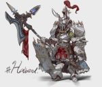 1girl armor boots breastplate covered_face crown english_text faulds full_armor full_body gauntlets greaves grey_background halberd hashtag helmet highres holding holding_weapon nogchasaeg_(karon2848) original pauldrons plume polearm shield simple_background sketch solo standing weapon white_background