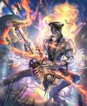 \n/ artist_request beard bird chain cigar concert electric_guitar facial_hair fire guitar hat he_who_once_rocked instrument jacket leather leather_jacket leather_pants loudspeaker music official_art pants peaked_cap playing_instrument ribs shadowverse skeleton spotlight sunglasses