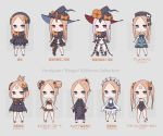 1girl abigail_williams_(fate/grand_order) absurdres bangs bare_shoulders black_bow black_headwear black_panties blonde_hair blue_eyes bow character_name chibi emerald_float fate/grand_order fate_(series) forehead grey_background hair_bow hat heroic_spirit_festival_outfit heroic_spirit_traveling_outfit highres keyhole kopaka_(karda_nui) long_hair looking_at_viewer multiple_bows multiple_hair_bows multiple_hat_bows multiple_views orange_bow panties parted_bangs polka_dot polka_dot_bow red_eyes simple_background sleeves_past_fingers sleeves_past_wrists smile stuffed_animal stuffed_toy teddy_bear underwear white_hair white_skin witch_hat