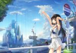 1girl armpits arms_up bare_shoulders bird black_hair blue_eyes blue_sky bracelet breasts building clouds cloudy_sky commentary_request construction day jewelry long_hair looking_at_viewer medium_breasts moon open_mouth original outdoors school_uniform seagull serafuku shirt sign skirt sky sleeveless sleeveless_shirt smile solo white_shirt white_skirt wingheart