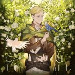 1boy animal animal_on_hand belt belt_buckle bird black_belt black_hair blonde_hair blue_eyes book brown_jacket buckle cape character_name closed_mouth collar emblem erwin_smith flower green_cape happy_birthday highres holding holding_book jacket leather leather_jacket long_sleeves looking_at_another male_focus neckwear pants paradis_military_uniform plant shingeki_no_kyojin shirt short_hair smile solo standing thick_eyebrows uniform upper_body white_flower white_pants yuji_(fantasia)