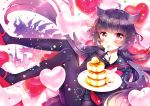 1girl akaishi_kuroe bangs black_legwear black_sailor_collar black_serafuku black_shirt black_skirt blush butter claws food food_on_face fork fork_in_mouth full_body hair_flaps heart heart_balloon holding holding_fork holding_plate kaijuu long_hair looking_at_viewer low_twintails mary_janes naki_ringo neckerchief otome_kaijuu_carameliser pancake pantyhose plate promotional_art red_eyes red_footwear red_neckwear sailor_collar school_uniform serafuku shirt shoes skirt solo_focus stack_of_pancakes twintails very_long_hair