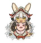 2others androgynous animal_ears blush chibi eyebrows_visible_through_hair full_body kawasemi27 looking_at_viewer made_in_abyss mitty_(made_in_abyss) multiple_others nanachi_(made_in_abyss) open_mouth red_eyes short_hair smile tail whiskers white_hair yellow_eyes