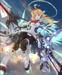 +_+ 1girl :d ahoge aircraft airship android artist_request blonde_hair blue_eyes clouds cloudy_sky fang from_below hair_intakes halo headset lance long_hair looking_at_viewer looking_down mechanical_wings official_art open_mouth polearm ralmia_sonic_racer rocket_boots shadowverse skin_fang sky smile solo thrusters weapon wings