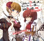 1boy 1girl beatrice belt black_dress blonde_hair blue_eyes choker ciconia_no_naku_koro_ni dress frilled_dress frilled_sleeves frills gauntlets grin holding holding_pipe mitake_miyao pipe red_neckwear redhead remotaro rose_hair_ornament smile strap umineko_no_naku_koro_ni white_background yellow_eyes