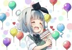 1girl :3 :d ^_^ balloon bangs black_bow black_hairband black_neckwear black_ribbon blunt_bangs blush bow bowtie cake closed_eyes collared_shirt commentary_request drooling eyebrows_visible_through_hair food fork fruit green_vest hair_ribbon hairband hand_on_own_cheek heart highres holding holding_fork konpaku_youmu konpaku_youmu_(ghost) multicolored multicolored_background open_mouth pegashi ribbon shirt short_hair short_sleeves silver_hair slice_of_cake smile solo sparkle strawberry touhou upper_body vest white_shirt wing_collar