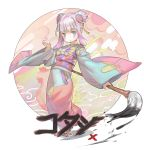 1girl absurdres bangs blue_eyes calligraphy_brush closed_mouth copyright_request double_bun eyebrows_visible_through_hair flower geta hair_flower hair_ornament hand_up highres holding_brush japanese_clothes kimono long_sleeves looking_at_viewer multicolored multicolored_clothes multicolored_eyes multicolored_kimono nogchasaeg_(karon2848) obi paintbrush purple_hair red_flower sash solo violet_eyes wide_sleeves