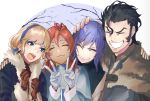 2boys 2girls alternate_costume balthus_(fire_emblem) black_hair blonde_hair blue_eyes blue_hairband brown_gloves closed_eyes closed_mouth coat constance_von_nuvelle dark_skin double_v earrings fire_emblem fire_emblem:_three_houses fur_trim gloves grin hairband hand_on_another's_head hapi_(fire_emblem) highres hot_dog_fe jewelry long_sleeves multicolored_hair multiple_boys multiple_girls open_mouth purple_hair redhead short_hair smile upper_body v white_gloves yuri_(fire_emblem)