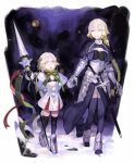 2girls absurdres armor bell black_gloves black_legwear blonde_hair blush braid breasts closed_eyes facing_another fate/apocrypha fate/grand_order fate_(series) gloves headpiece highres holding holding_spear holding_weapon jeanne_d'arc_(fate) jeanne_d'arc_(fate)_(all) jeanne_d'arc_alter_santa_lily large_breasts long_hair multiple_girls open_mouth polearm sketch small_breasts smile snow sohn_woohyoung spear thigh-highs upper_teeth weapon