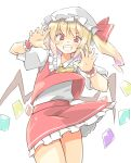 1girl arnest ascot bangs blonde_hair bright_pupils cowboy_shot crystal eyebrows_visible_through_hair flandre_scarlet grin hat hat_ribbon highres looking_at_viewer mob_cap puffy_short_sleeves puffy_sleeves red_eyes red_ribbon red_skirt red_vest ribbon shirt short_sleeves side_ponytail simple_background skirt smile solo standing touhou vest white_background white_headwear white_pupils white_shirt wings wrist_cuffs yellow_neckwear