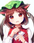1girl animal_ears bangs blush bow bowtie brown_hair cat_ears cat_girl cat_tail chen claws commentary_request earrings ears_down extra_ears fangs food food_on_face green_headwear gunjou_row hands_on_own_chest hat highres jewelry long_sleeves looking_at_viewer mob_cap multiple_tails parted_bangs parted_lips red_eyes short_hair simple_background slit_pupils solo tail tearing_up tears touhou twitter_username two_tails upper_body white_background white_bow white_neckwear