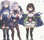3girls :3 :d :o absurdres azur_lane black_gloves black_hair black_legwear black_ribbon blue_eyes closed_eyes clothes_writing commentary_request cooper_(azur_lane) diadem eicam gloves grey_background grey_hair hachimaki hair_ribbon hand_on_hip headband highres intrepid_(azur_lane) leaning_forward long_hair metal_gloves multiple_girls necktie open_mouth pink_eyes pleated_skirt red_neckwear reno_(azur_lane) ribbon short_hair signature skirt smile standing thigh-highs two_side_up zettai_ryouiki