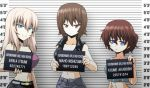 3girls akaboshi_koume bangs belt black_jacket black_skirt blue_eyes brown_eyes brown_hair casual character_name closed_mouth commentary crop_top denim english_text eyebrows_visible_through_hair frown girls_und_panzer grey_belt grey_pants grey_shirt grimace height_chart highres holding itsumi_erika jacket jeans kamishima_kanon lineup looking_at_viewer medium_hair midriff mugshot multiple_girls navel nishizumi_maho open_fly pants parted_lips purple_shirt shirt short_hair silver_hair skirt sleeveless sleeveless_jacket spaghetti_strap standing tank_top wavy_hair