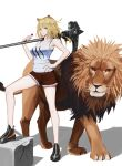 1girl absurdres animal_ears arknights bangs bare_arms bare_legs bare_shoulders black_footwear black_nails blonde_hair breasts candy collarbone commentary_request food fur-trimmed_shorts fur_trim hammer hand_on_hip hand_up highres holding holding_food lion lion_ears lollipop long_hair looking_at_viewer medium_breasts n2o_cat nail_polish over_shoulder red_shorts shadow shoes short_shorts shorts siege_(arknights) simple_background standing tank_top thighs weapon weapon_over_shoulder white_background white_tank_top yellow_eyes