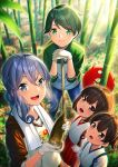 1other 4girls :d akagi_(kantai_collection) alternate_costume bamboo bamboo_forest bamboo_shoot blue_eyes blue_hair blue_hakama blue_pants blush brown_eyes brown_hair collarbone commentary_request enemy_lifebuoy_(kantai_collection) eyebrows_visible_through_hair forest gloves gotland_(kantai_collection) green_eyes green_hair hair_between_eyes hakama hakama_skirt japanese_clothes kaga_(kantai_collection) kantai_collection kyon_(fuuran) long_hair mogami_(kantai_collection) mole mole_under_eye multiple_girls nature open_mouth pants red_hakama shinkaisei-kan short_hair side_ponytail smile tasuki towel towel_around_neck white_gloves younger