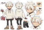 1boy animal_ears animal_toyroom boots character_sheet extra_ears gloves highres hood hoodie horns looking_at_viewer male_focus open_mouth original sheep_boy sheep_ears sheep_horns sheep_tail shorts simple_background smile solo tail virtual_youtuber waving white_background white_hair yellow_eyes
