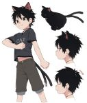 1boy animal_ears animal_toyroom black_hair cat cat_boy cat_ears cat_tail character_sheet closed_eyes extra_ears fang green_eyes highres jewelry looking_at_viewer male_focus midriff navel necklace nekomata original shirt shorts simple_background smile solo t-shirt tail virtual_youtuber white_background