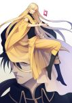 2boys black_footwear black_hair blonde_hair boots cape closed_eyes golden_emperor_shara highres invisible_chair knee_boots long_hair multiple_boys pixiv_fantasia pixiv_fantasia_age_of_starlight pointy_ears ponytail shima108 simple_background sitting sleeveless very_long_hair yellow_cape