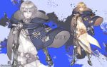 1boy armor artist_name blonde_hair blue_background blue_cape cape character_name closed_mouth excalibur holding holding_sword holding_weapon male_focus original personification plate_armor rosel-d solo sword touken_ranbu weapon zoom_layer