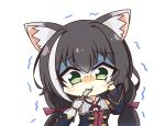 1girl animal_ear_fluff animal_ears bangs bare_shoulders black_hair blush cat_ears cat_girl chibi detached_sleeves eyebrows_visible_through_hair feeding fork green_eyes hair_between_eyes hair_ribbon hand_on_own_cheek highres holding holding_fork karyl_(princess_connect!) long_hair looking_at_viewer low_twintails multicolored_hair pov pov_hands princess_connect! princess_connect!_re:dive purple_ribbon ribbon sidelocks simple_background solo tearing_up teen_(teen629) trembling twintails two-tone_hair white_background white_hair