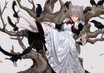 1girl animal animal_ears apron bang bird black_footwear braid cat_ears crow dress finger_gun fkey grey_background grey_hair long_hair looking_at_viewer lying maid maid_apron mary_janes on_back original shoes simple_background violet_eyes white_legwear