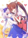 2girls absurdres animal_ears blue_dress blue_eyes brown_eyes brown_hair cat_ears cat_tail chocola_(nekopara) dress dutch_angle fang highres holding_hands long_hair looking_at_viewer multiple_girls nekopara nyaa_(nnekoron) open_mouth paw_print red_dress silver_hair skin_fang smile tail tail_ornament twintails two-tone_background vanilla_(nekopara)