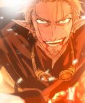 1boy blonde_hair blood blood_from_mouth earrings facial_hair goggles goggles_around_neck haimusan jewelry male_focus open_mouth outdoors pixiv_fantasia pixiv_fantasia_age_of_starlight pointy_ears robe solo trade_king_farid upper_body