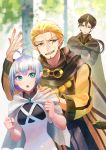 1girl 2boys antenna_hair blonde_hair blue_eyes brown_eyes brown_hair cape clenched_hand crossed_arms day elf facial_hair goggles goggles_around_neck hand_up master_of_the_deep_sea_nova mizuki_apple multiple_boys outdoors pixiv_fantasia pixiv_fantasia_age_of_starlight pointy_ears ponytail robe silver_hair standing star_girl_luna sweatdrop trade_king_farid white_cape yellow_eyes