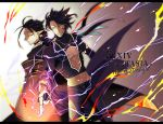 2boys ahoge animal_ears black_hair black_pants cloak copyright_name electricity jewelry long_sleeves multiple_boys navel necklace pants pixiv_fantasia pixiv_fantasia_age_of_starlight pointy_ears ring smirk standing third_eye yellow_eyes