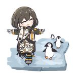 1girl animal arknights bird brown_hair closed_eyes creepy_himecchi eyebrows_behind_hair gloves hair_between_eyes highres ice ice_skates long_sleeves looking_at_another magallan_(arknights) medium_hair multicolored_hair open_mouth outstretched_arms penguin simple_background skates smile t-pose two-tone_hair walking white_background |d