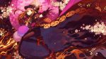 1girl black_footwear black_gloves black_legwear brown_eyes brown_hair capelet chacha_(fate/grand_order) commentary_request fate/grand_order fate_(series) flaming_sword flaming_weapon floral_print full_body gloves grin hat highres holding holding_sword holding_weapon hong_da knee_up looking_at_viewer mitsudomoe_(shape) outstretched_hand pantyhose pom_pom_(clothes) smile solo sword tomoe_(symbol) weapon