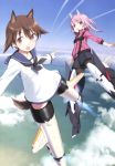 2girls above_clouds absurdres alice_gear_aegis animal_ears black_legwear black_neckwear black_shorts blue_sky brown_eyes brown_hair crossover dog_ears dog_tail dress flying highres hirasaka_yotsuyu jacket long_hair long_sleeves looking_at_viewer mecha_musume miyafuji_yoshika multiple_girls neckerchief official_art open_mouth pantyhose pink_eyes pink_hair pink_jacket sailor_collar sailor_dress scan shimada_fumikane short_hair shorts sky smoke_trail strike_witches striker_unit tail white_dress world_witches_series