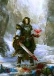 3boys andrey_vasilchenko armor belt belt_boots belt_buckle blood bloody_weapon book boots brown_cape brown_gloves brown_hair buckle cape closed_mouth crack death dripping floating gloves holding holding_sword holding_weapon knight mage mountain multiple_boys original pauldrons red_eyes scabbard sheath snow sword torn_cape torn_clothes vial weapon winter