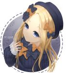 1girl abigail_williams_(fate/grand_order) bangs black_bow black_headwear blonde_hair blue_eyes blush bow character_name commentary_request dress fate/grand_order fate_(series) forehead frown hair_bow hat highres long_hair long_sleeves looking_at_viewer mizuki_(s0511) multiple_bows multiple_hair_bows orange_bow parted_bangs sleeves_past_wrists solo