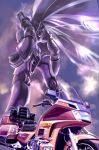 claws clenched_hands clouds commentary commentary_request dunbine engine fairy_wings ground_vehicle highres honda k-kat logo machinery mecha motor_vehicle motorcycle no_humans realistic science_fiction seisenshi_dunbine tire wings