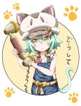 1girl animal_hat blouse cacao_(nekopara) cat_hat circle corded_phone cowboy_shot denwa_neko eggman_(pixiv28975023) green_hair hat leaning_to_the_side nekopara overall_shorts paw_print phone short_hair solo white_background white_blouse yellow_eyes